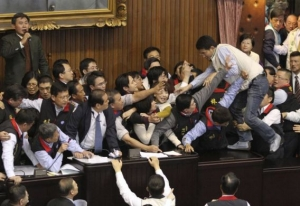 Taiwan MPs brawl in parliament over nuclear vote